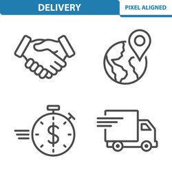Delivery, Logistics, Shipping Icons. Professional, pixel perfect icons, EPS 10 format.