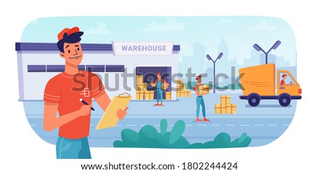 Delivery logistics, warehouse parcel boxes delivering by workers to minibus truck, vector flat design. Post mail or cargo freight boxes logistics and shipment process, warehouse loading and unloading