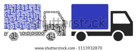 Delivery lorry composition icon of zero and one symbols in randomized sizes. Vector digit symbols are composed into delivery lorry mosaic design concept.