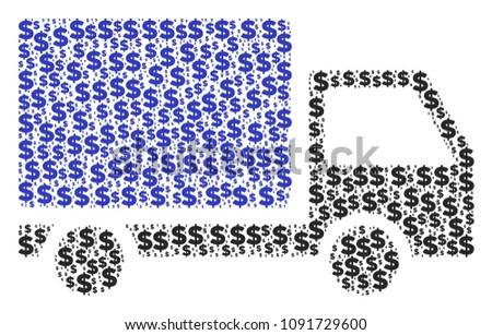 Delivery lorry composition of dollars and sphere points. Vector dollar currency symbols are composed into delivery lorry mosaic.