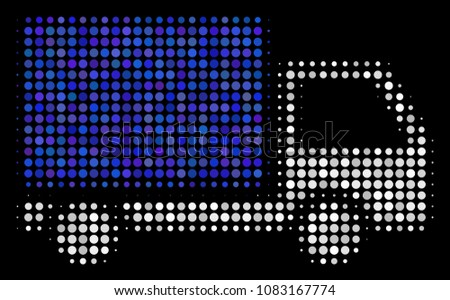 Delivery lorry halftone vector icon. Illustration style is pixelated iconic delivery lorry symbol on a black background. Halftone texture is created of spheric cells.