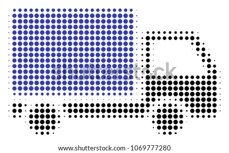 Delivery Lorry halftone vector pictogram. Illustration style is dotted iconic Delivery Lorry icon symbol on a white background. Halftone matrix is circle spots.