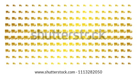 Delivery lorry icon gold colored halftone pattern. Vector delivery lorry shapes are organized into halftone array with inclined gold gradient. Constructed for backgrounds, covers,