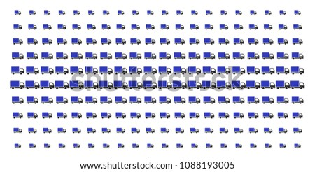 Delivery lorry icon halftone pattern, constructed for backgrounds, covers, templates and abstract effects. Vector delivery lorry objects organized into halftone array.