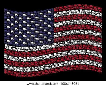 Delivery lorry pictograms are combined into waving USA flag abstraction on a dark background. Vector concept of America state flag is designed from delivery lorry elements.