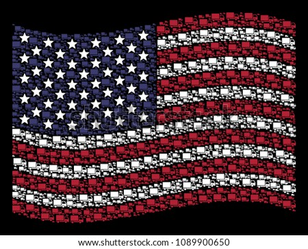 Delivery lorry pictograms are organized into waving USA flag stylization on a dark background. Vector concept of America state flag is combined with delivery lorry elements.