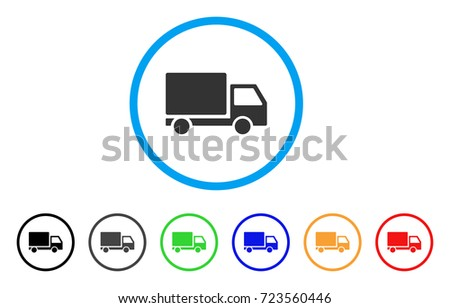 Delivery Lorry rounded icon. Style is a flat delivery lorry grey symbol inside light blue circle with black, gray, green, blue, red, orange variants. Vector designed for web and software interfaces.