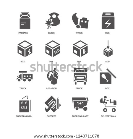 Delivery Man, Add, Box, Shopping bag, Package, Truck, cart, Checked, Truck icon 16 set EPS 10 vector format. Icons optimized for both large and small resolutions. #1240711078