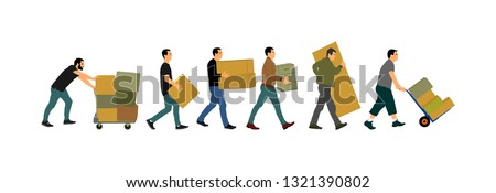 Delivery man carrying boxes of goods. Post man with package . Distribution and procurement. Boy holding heavy package for moving service. Handy man walking in move action. Hand transportation method.