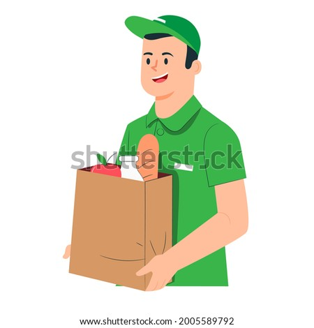 Delivery man, courrier in green shirt, illustration concept. Photo stock ©
