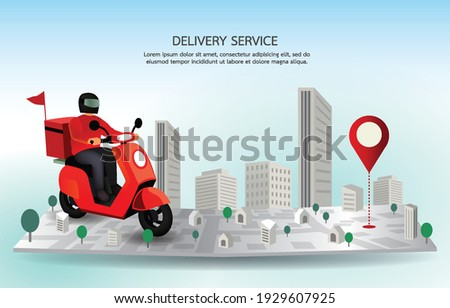 delivery man drive motorcycle on map have the GPS address . food delivery service send meal to customer. fast man keep time and speed send food. Online app shipping product on the time.