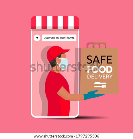 Delivery man holding a bag with fast food out of the phone. Fast food delivery app on a smartphone with delivery man, wearing a face mask and gloves. Safe food delivery during coronavirus epidemic