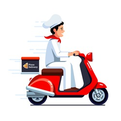 Delivery man in chef cook uniform & hat delivering pizza on retro scooter motor moped with trunk case box. Flat vector illustration isolated on white background.