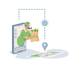 Delivery man in respiratory face mask holding bag with grocery food vector flat cartoon illustration. Online food delivery service using smartphone, non contact delivery concept.
