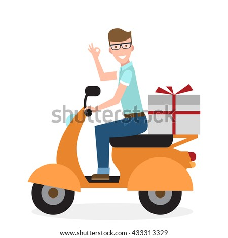 delivery man on scooter fast