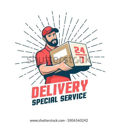 Delivery man retro logo. Bearded courier with parcel - vintage emblem. Vector illustration.