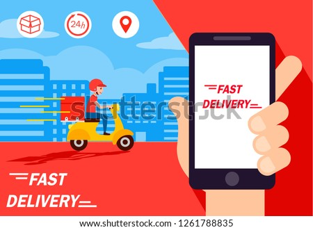 Delivery man ride bike get order .Hand holding mobile smart phone open app.fast delivery, shipping.  platform cover page facebook.