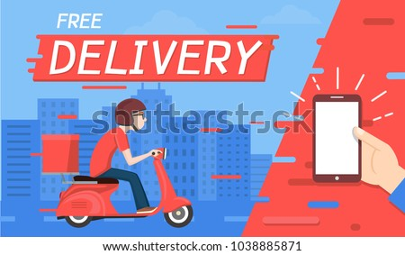Delivery man ride Motorcycle and Order from phone