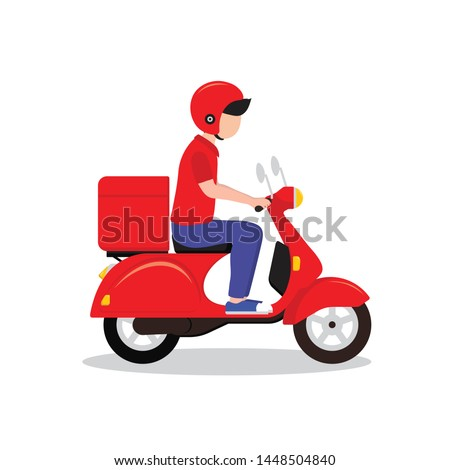 Delivery man riding a red scooter illustration. Food delivery man vector