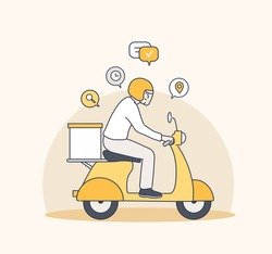 Delivery man riding motorcycle, Send order package to customer, Express delivery bike service. Hand drawn style vector design illustrations.