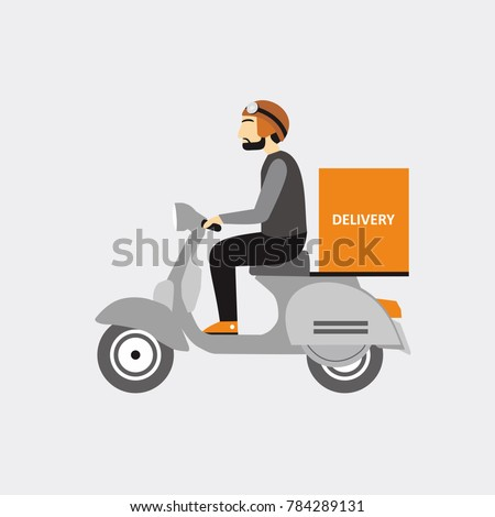 delivery man send order with motors
