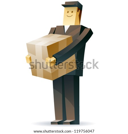 Delivery man. Vector illustration of a postman with a crate and documents