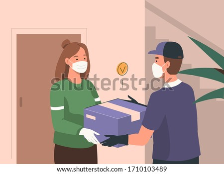 Delivery Man wearing Medical Protection Mask and Gloves Giving Parcel Box to Customer. Home Delivery at Quarantine and Coronavirus Epidemic. Safe Delivery Concept. Flat Cartoon Vector  Illustration.