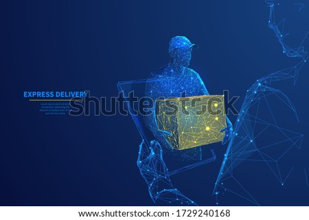 Delivery man with box in his hands on tablet screen in dark blue background. Express delivery, online shopping, order tracking or delivery app concept.  3d polygonal digital vector illustration