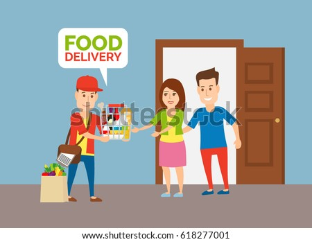 delivery man with grocery food products and couple at home near the open door