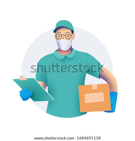 Delivery men or courier in protective medical face mask with a box in his hands.  and protective gloves. Delivery of goods during the prevention of coronovirus concept. Vector illustration.