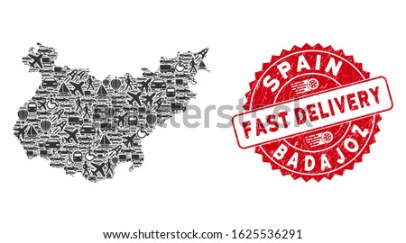 Delivery mosaic Badajoz Province map and grunge stamp seal with FAST DELIVERY badge. Badajoz Province map collage designed with grey randomized lorry items.