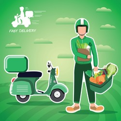 Delivery of farm products. Organic products from the farm. Vector flat design illustration