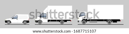 Delivery of goods and goods by different trucks, cargo. Vector set. Trucks in the parking lot side view. White blank truck template for advertising