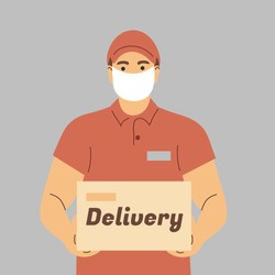Delivery of goods during the prevention of coronovirus, Covid-19. Courier in a face mask with a box in his hands. Portrait from the waist up. Vector flat illustration.