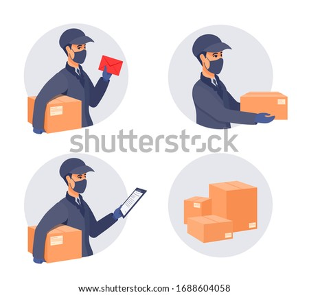 Delivery of packages during the epidemic. Boy worker in a cap, an uniform, medical gloves, mask covered face. Sickness prevention. Vector flat cartoon illustration.