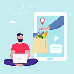 Delivery online. Man orders food online. Vector illustration in flat style. Delivery and shopping by smartphone or laptop concept. Can used for banner, website design, landing web page, social media
