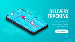 Delivery online tracking isometric banner concept smartphone with map, truck, pin on screen. Logistic order track e-commerce service 3d design. Shipping Vector illustration for web, mobile app, advert