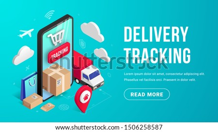 Delivery online tracking isometric banner concept with smartphone, parcel box, truck, pin on blue background. Logistic order delivery service 3d design. Vector illustration for web, mobile app, advert