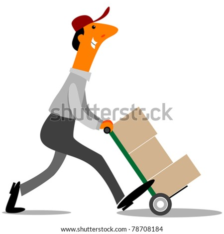 delivery or factory worker pushing boxes with hand truck