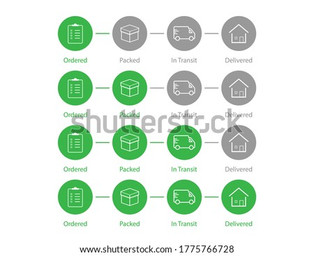 Delivery order status. Shipping process steps in green color. Shipment tracking map. Set of parcel infographic. Ordered, packed, in transit and delivered status. Isolated delivery status. EPS 10 Stock photo ©