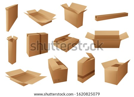 Delivery packages 3d vector design of brown cardboard boxes and carton parcels. Cargo shipping, warehouse storage and moving packs, open and closed containers with packaging marks and packing tapes