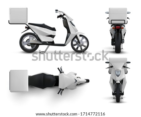Delivery scooter. Realistic motorcycle with blank bag for food and drinks, restaurant and cafe courier bike with white box. Vector illustration motor bike in different positions set