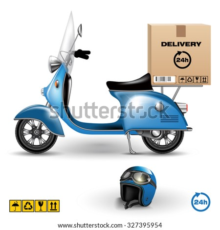 Delivery scooter with big box isolated on white. Vector illustration