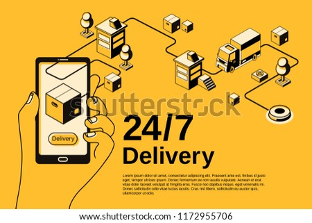 Delivery service application vector illustration for mail parcel shipping tracking on smartphone. Order shipment logistics technology isometric thin line design on black halftone and yellow background