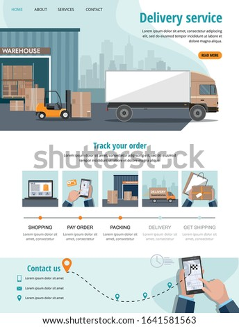 Delivery service. Business logistics, smart logistics technologies, commercial delivery service concept. Web banner, landing page. Vector