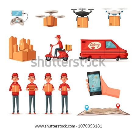 Delivery service by van, scooter, drone. Car for parcel delivery. Cartoon vector illustration
