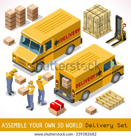 Delivery Service Chain Elements Collection. Pallet 3D Flat Vector Isometric Vehicle Icon Set. Box Pack worldwide shipping carry Courier man of Postal Yellow Van Car Express Product home Shop Transport