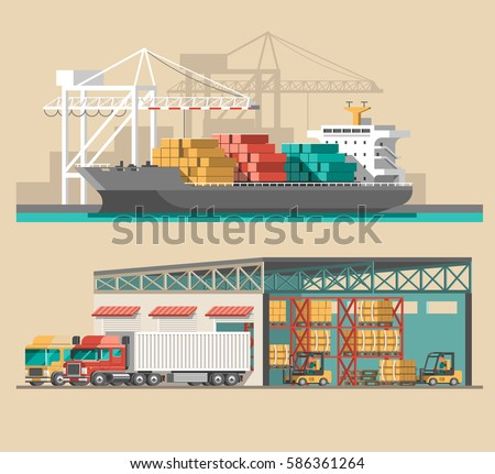 Delivery service concept. Container cargo ship loading, truck loader, warehouse. Flat style vector illustration.