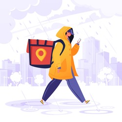Delivery service concept. Man courier, contrary to weather conditions, delivers package to customer. Flat cartoon character in raincoat, special backpack guided by map in phone goes to destination.