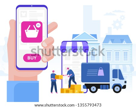 Delivery service concept. Truck with boxes and delivery workers or courier. Delivery of goods through online shop. Flat style vector illustration